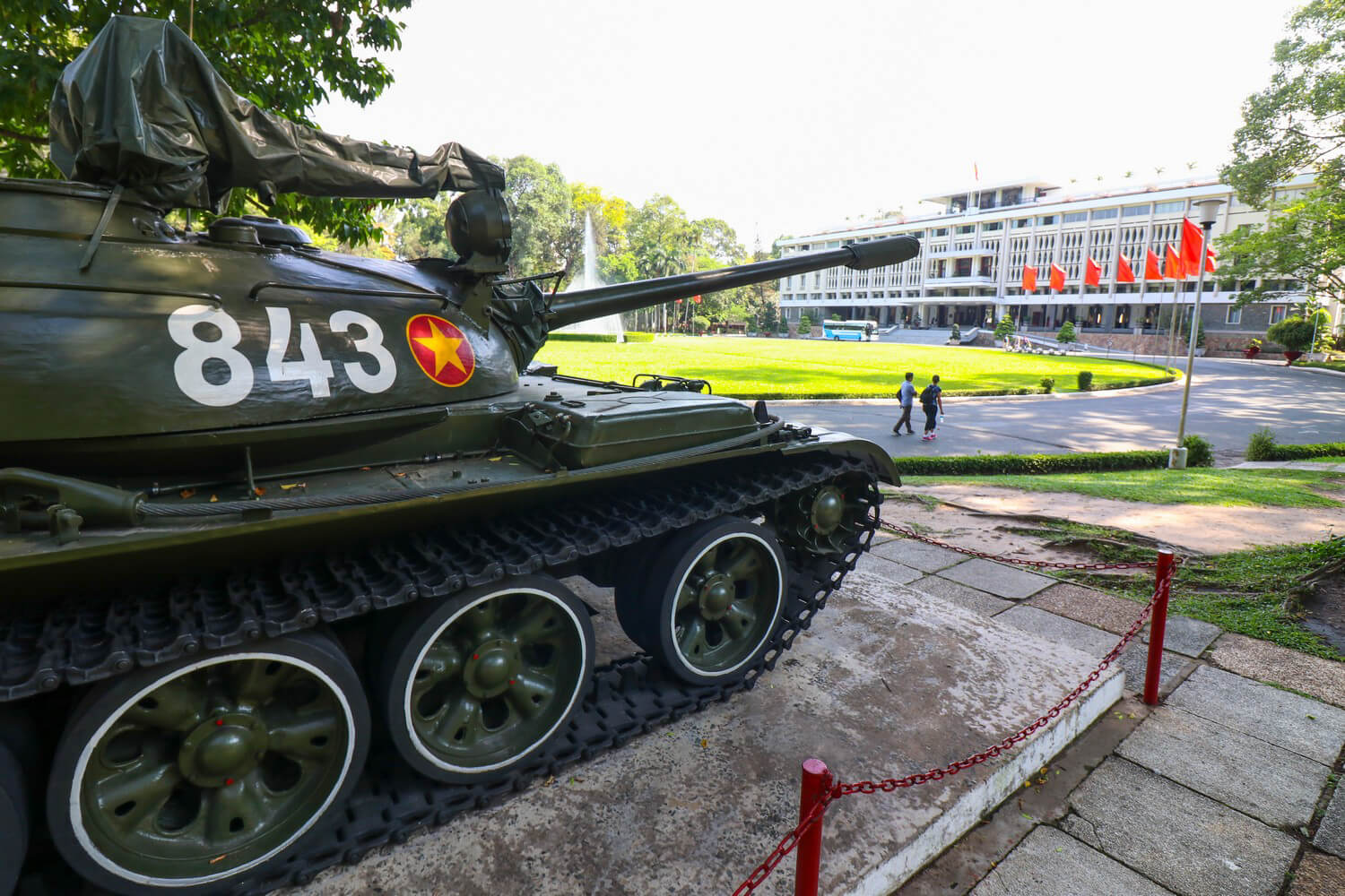 Tank at Vietnam War Sites Reunification Palace in Ho Chi Minh City